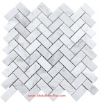 Carrara White Marble Polished Herringbone Mosaic Tiles