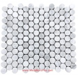 Carrara White Marble Polished Penny Round Mosaic Tiles