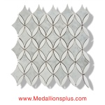 Oval Diamond - Carrara & Thassos White Marble Polished Mosaic Tiles