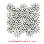 Daisy - Carrara & Thassos White Marble Polished Mosaic Tiles