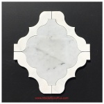 Carrara And White Marble Waterjet Cut Tile - Design 47L