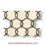 Crema Marfil & Dark Emperador Waterjet Cut Tile - Design 31