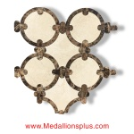 Crema Marfil & Dark Emperador Waterjet Cut Tile - Design 21