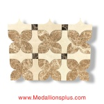 Crema Marfil, Light & Dark Emperador Waterjet Cut Tile - Design 22
