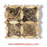 Light Emperador & Dark Emperador Waterjet Cut Tile - Design 20