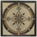 "ELEGANTE, 36"" Square Waterjet Stone Floor Inlay Polished"