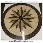 "NORTH STAR, 36"" Polished Mosaic Floor Medallion"