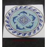 "Dolphin, 36"" Polished Glass Mosaic Pool Medallion"