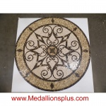 "KRISTINE, 60"" Polished Mosaic Floor Medallion"
