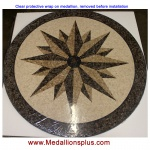 "NORTH STAR, 36"" Honed Mosaic Floor Medallion"